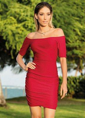 Vestido Vermelho Decote Ombro a Ombro