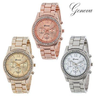 Relógio Strass Geneva - 3 cores