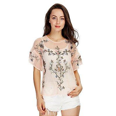 Blusa de Tule Flores - 2 cores