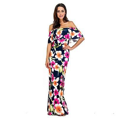 Vestido Longo Off Shoulder Floral - 5 cores