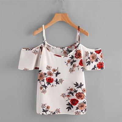 Blusa Shoulder Floral