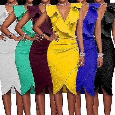 Vestido Babado Transpassado - 6 cores