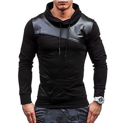 Blusa Masculina Detalhe Couro - 2 cores