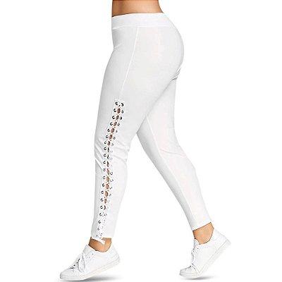 Legging Branca Lace Up Plus Size