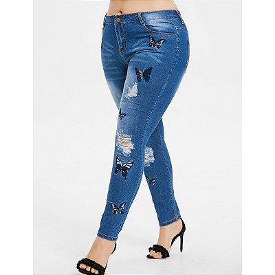 Calça Jeans Borboletas Plus Size