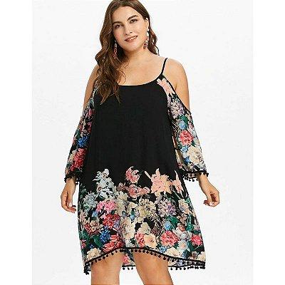 Vestido Floral Off Shoulder Plus Size - 3 cores