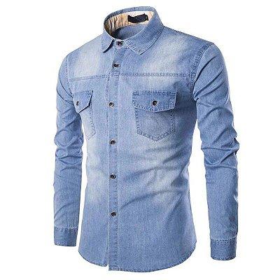 Camisa Jeans Bolsos - 3 cores