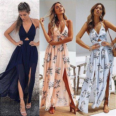 Vestido Dupla Fenda - 3 cores