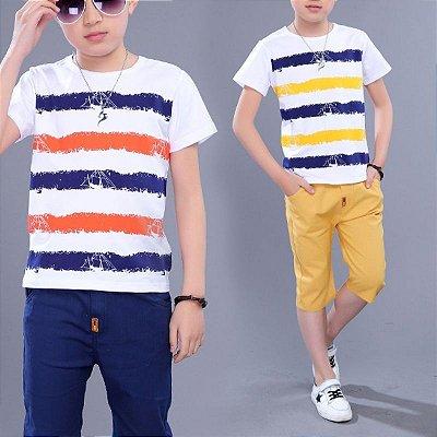 Conjunto Camiseta Listrada com Bermuda - 2 cores