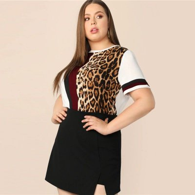 T-shirt Leopardo Plus Size - 3 cores