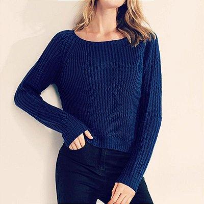 Suéter Tricô Manga Longa - 7 cores