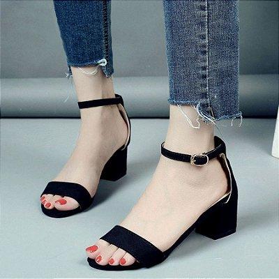 Sandália Tira Salto Baixo - 4 cores