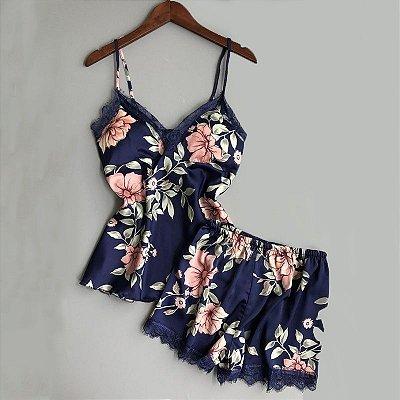 Pijama Floral Acetinado - 3 cores