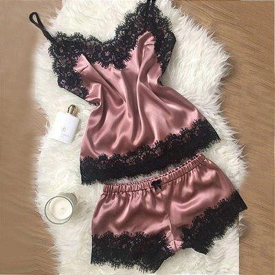Pijama Acetinado com Renda - 5 cores