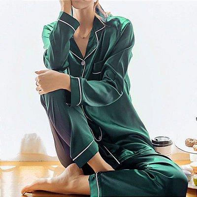 Pijama Longo Acetinado - 3 cores