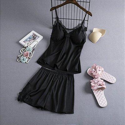 Pijama Cetim com Renda - 4 cores