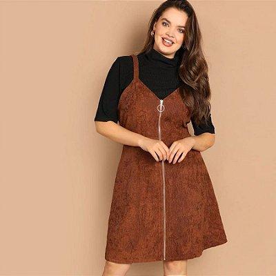 Vestido Marrom Cotelê Plus Size