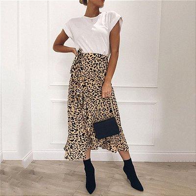 Saia Leopardo com Babados - 2 cores