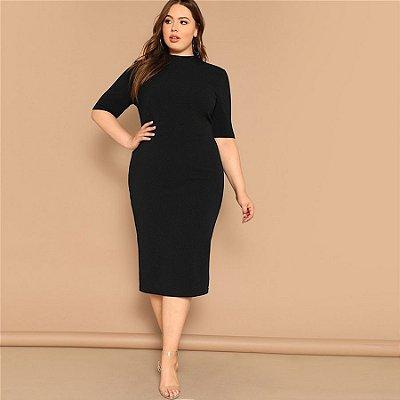 Vestido Liso Midi Lápis Plus Size - 2 cores