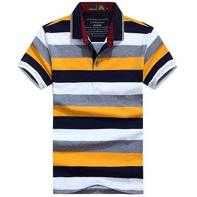 Camiseta Polo Listras Coloridas - 4 cores
