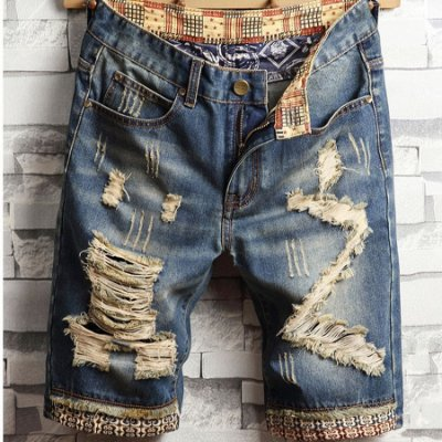 Bermuda Jeans Destroyed Estampas - 3 cores