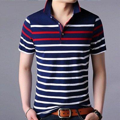 Camiseta Polo Listras Horizontais - 3 cores