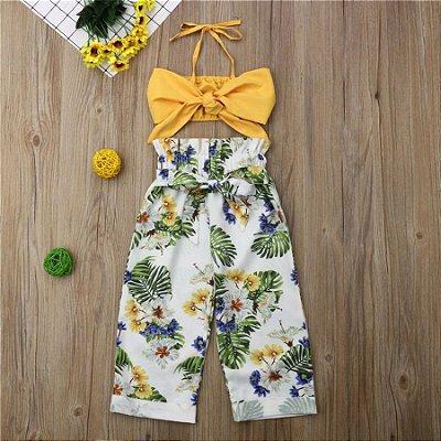Conjunto Floral Amarelo