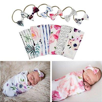 Cobertor + Lacinho Recém-nascido - 6 estampas