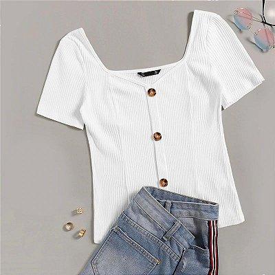 Blusa Branca Canelada Botões