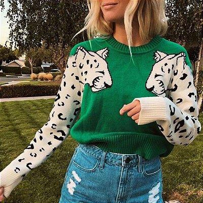 Suéter Manga Leopardo - 8 cores