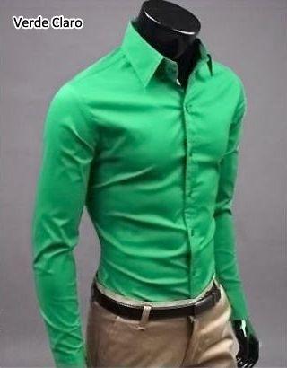 Camisa de Algodão Slim Fit - 17 Cores (Masculino)
