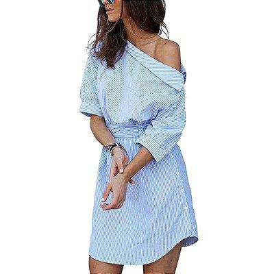 Vestido Listras Azul