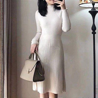 Vestido Malha Plissado - 5 cores