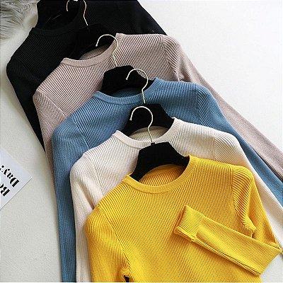 Blusa Manga Longa Canelada - 9 cores