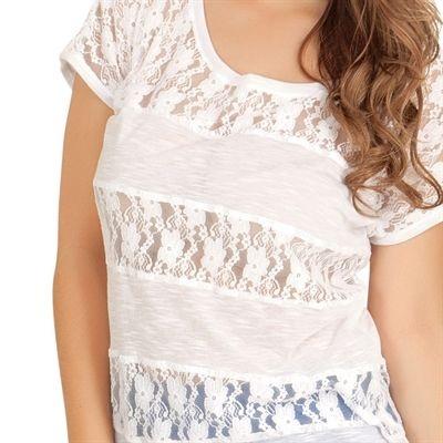 T-shirt Branca com Renda