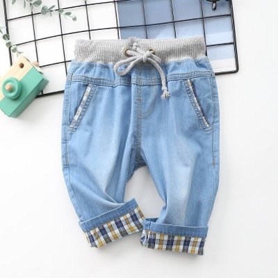 Bermuda Jeans Infantil Detalhe Xadrez