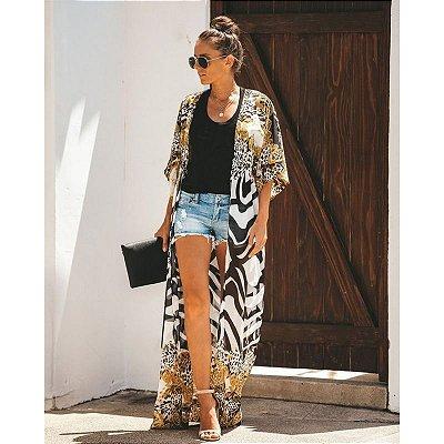 Kimono Longo Animal Print
