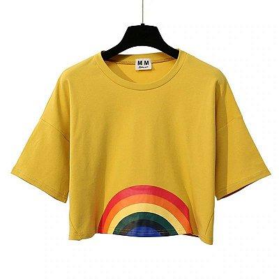 Cropped Amarelo Arco-Íris