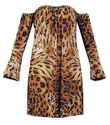 Vestido Ciganinha Animal Print Onça
