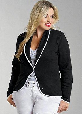 Blazer Feminino Plus Size Preto com Detalhe Branco