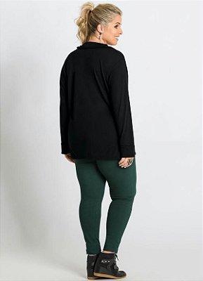 Camisa Manga Longa Preta Plus Size