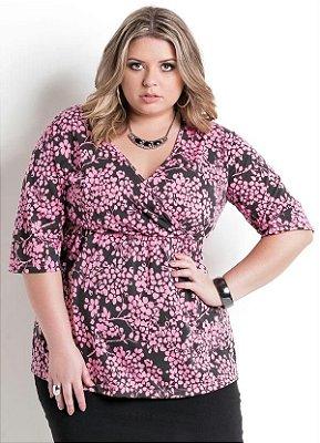 Blusa Decote Transpassado Floral Plus Size