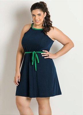 Vestido de Alça Azul Marinho e Verde Plus Size