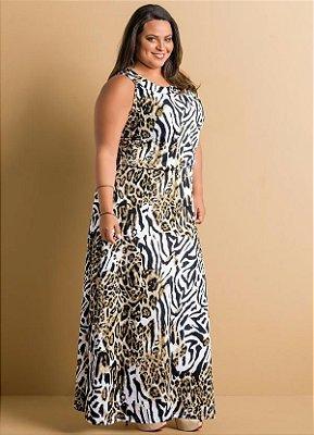 Vestido Longo Animal Print Plus Size