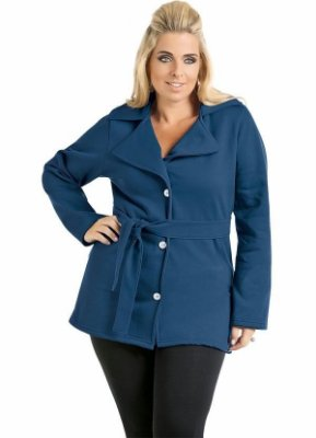 Casaco Azul com Botões e Cinto Plus Size