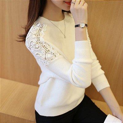 Suéter Ombro Rendado - 4 cores