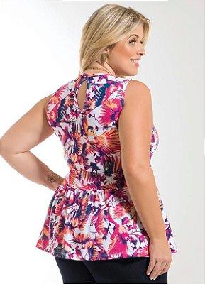 Blusa Peplum Floral Plus Size