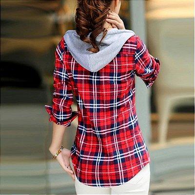 Camisa Xadrez com Capuz - 3 cores