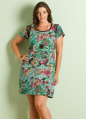 Vestido Detalhe Tule Estampa Flores Plus Size