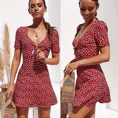 Vestido Floral Curto Amarração - 4 cores